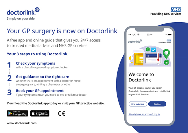 Your GP surgery is now on Doctorlink. Click here for more information